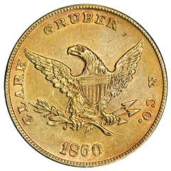 1860 Clark Gruber Mountain $10 Gold reverse