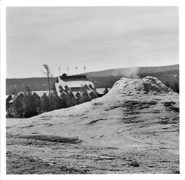 Old Faithful Inn and part of Lion Geyser Group, print 8x8