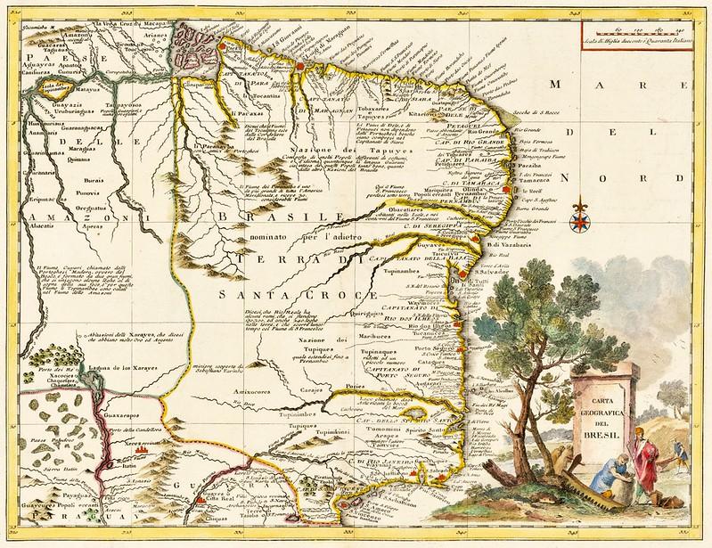 Giambattista Albrizzi - Carta Geographica Del Bresil (1740)