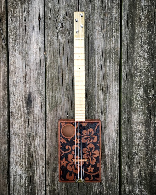 Completed cigar box ukulele