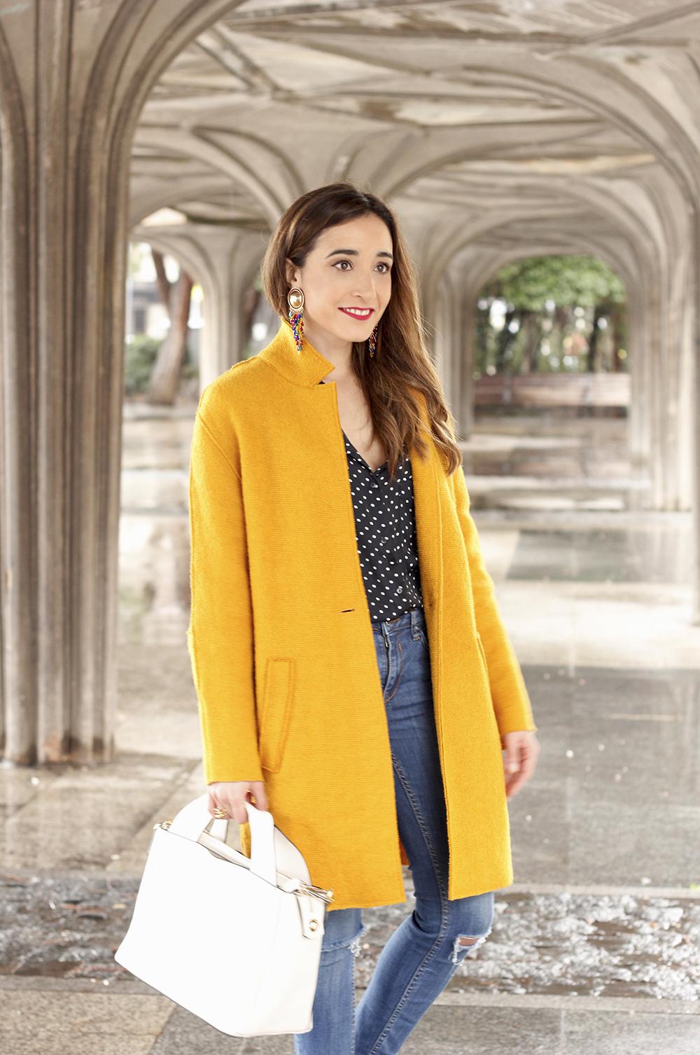 mustard coat polka dots shirt leopard heels white bag outfit 08