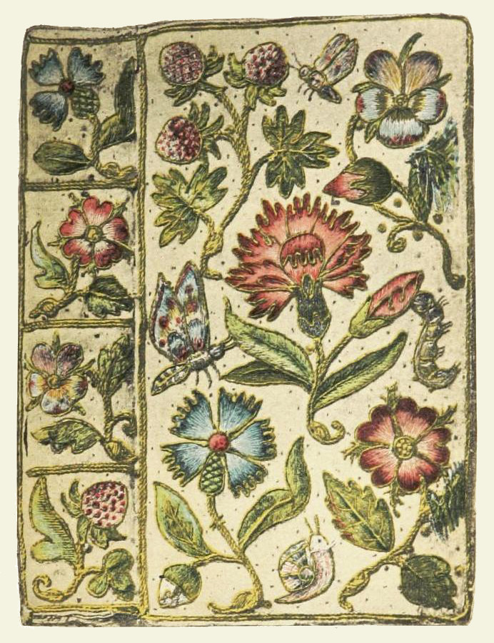 Embroidered book cover for Henshaw's Horae Successivae (1632), white satin  with a floral design edged in gold cord, featured in Cyril Davenport's  English ...