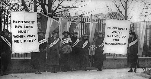 Suffragists picketing in front of the White House