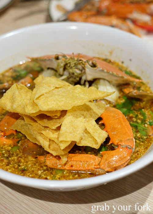 Crab tom yum noodle at the all-you-can-eat crab festival at Yok Sod Thai at Mr B's in Haymarket Sydney