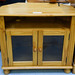 Natural pine low two door glass door corner unit E80