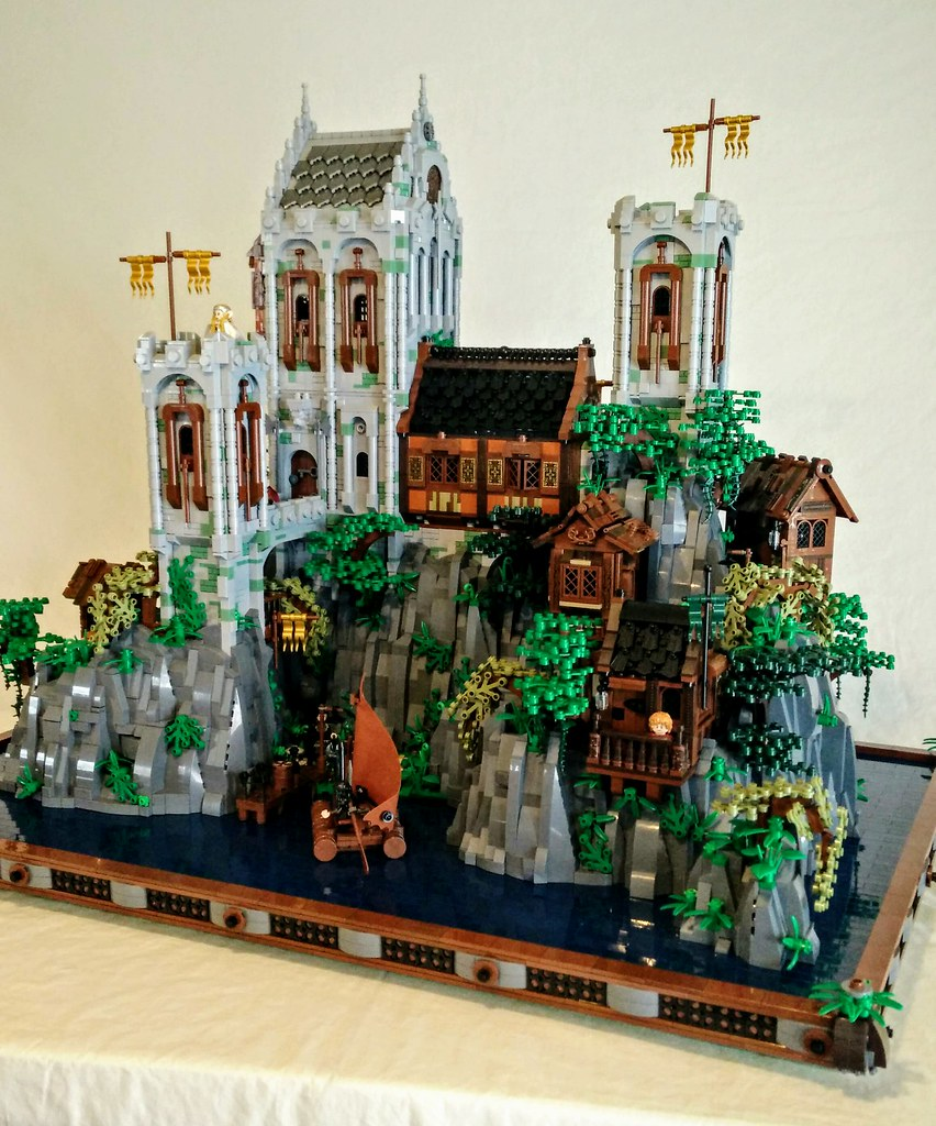 "Lego ""lake town castle"" a fictional castle from a fictional movie/book.  This is what I wish the survivors of lake town would have built on the other end of the long lake after smaug destroyed lake town."