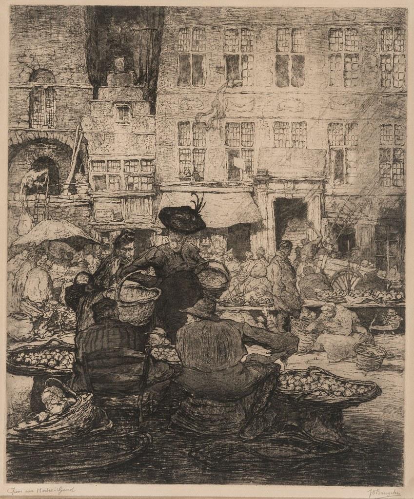 Jules De Bruycker - Herbs Quay in Ghent,  1912