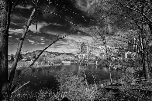landscape scenic sky cloud mountain hill pond water wetland trees condos condominiums apartments highrise boardwalk park nature buildings birds bw monochrome black white grey gray kelowna bc canada okanagan