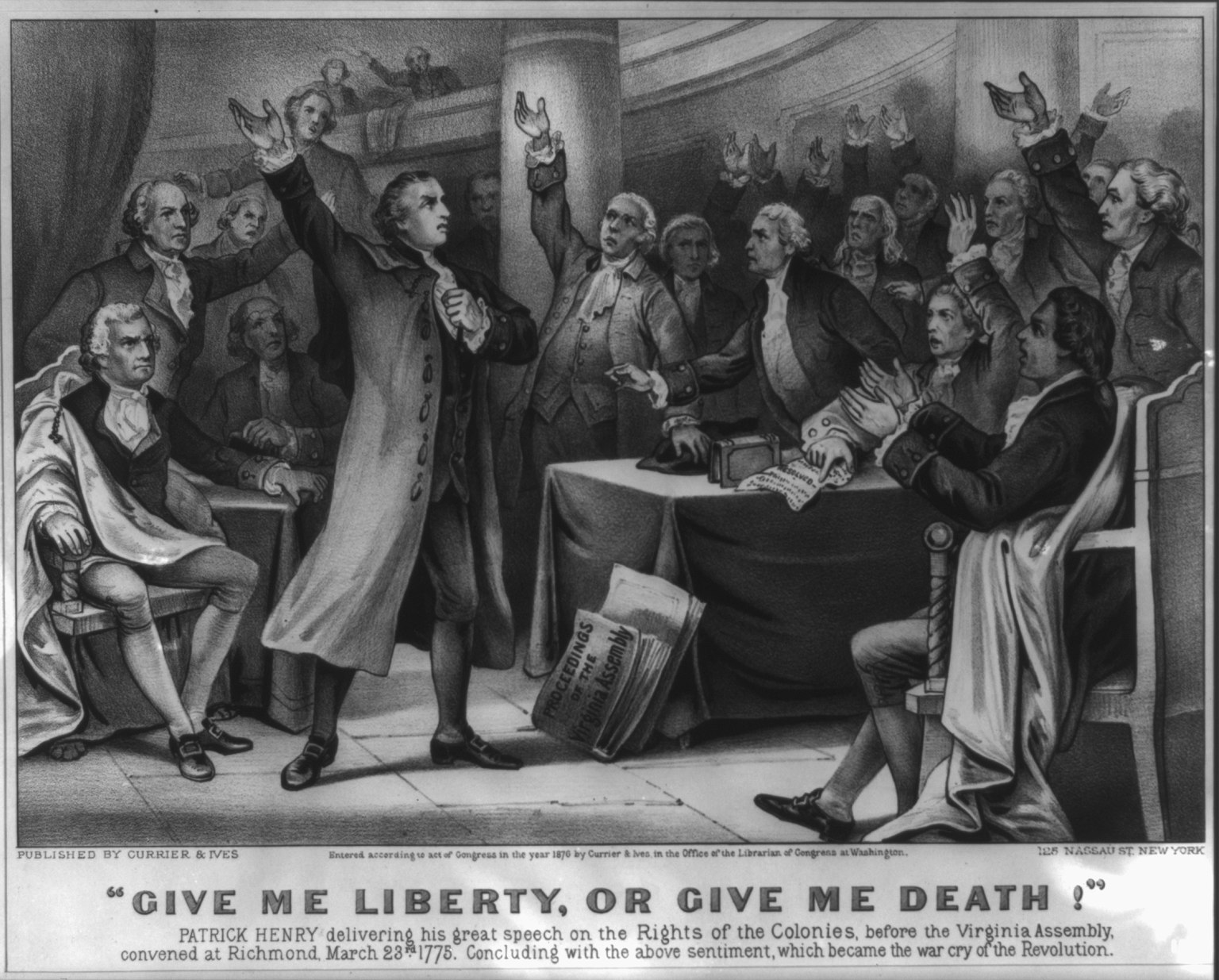Currier & Ives depiction of Patrick Henry giving his