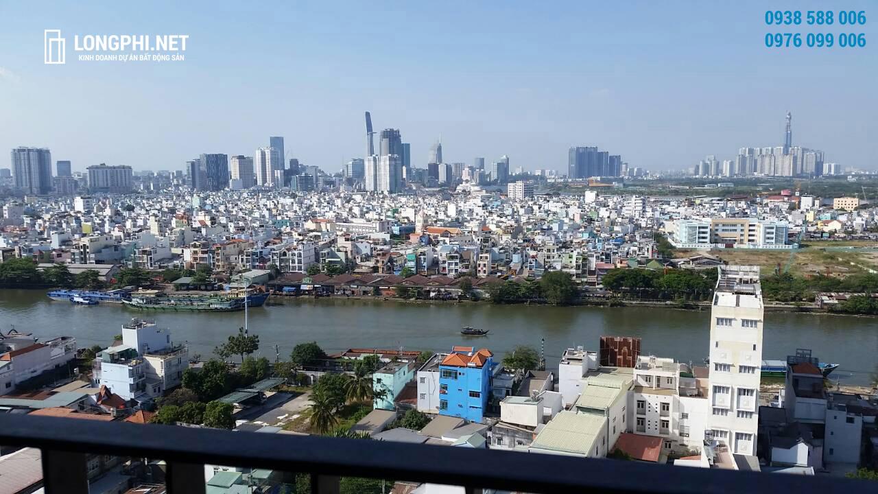 Căn hộ M-One 2 phòng ngủ cho thuê có tầm nhìn về trung tâm thành phố, quận 1 & quận 4.