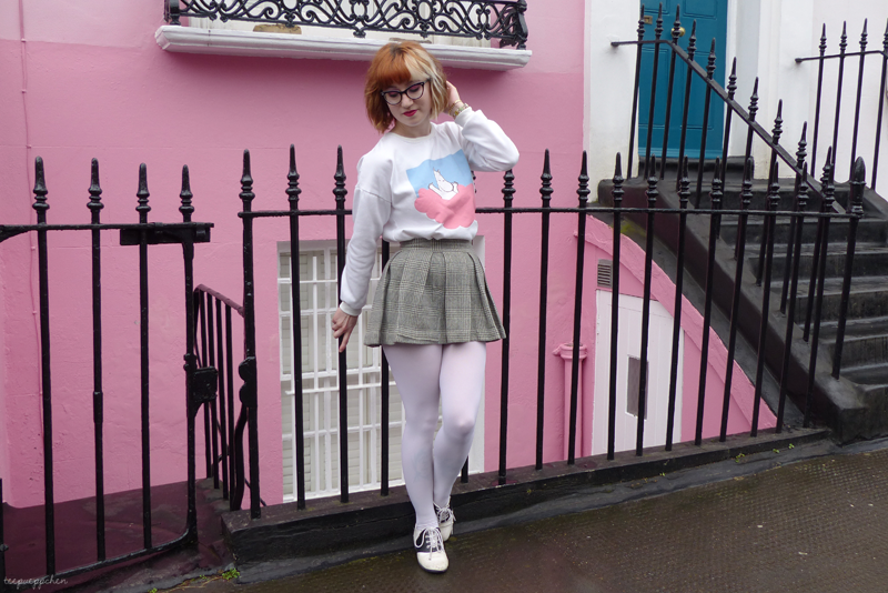 pink clouds moomin outfit novelty print vintage sixties 60s miniskirt notting hill 80s camden