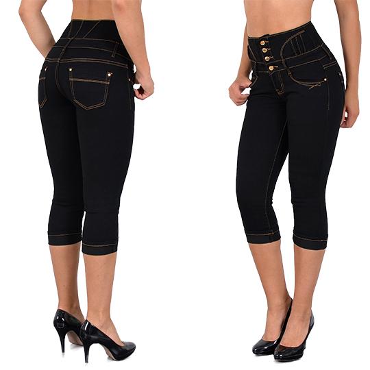 damen capri jeans high waist capri jeanshose hochbund capri jeans j353 ebay. Black Bedroom Furniture Sets. Home Design Ideas