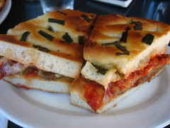 sandwich, meal, breakfast, food, focaccia, dish, cuisine,