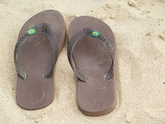 outdoor shoe(0.0), shoe(0.0), leg(0.0), brown(1.0), footwear(1.0), sandal(1.0), flip-flops(1.0), slipper(1.0),