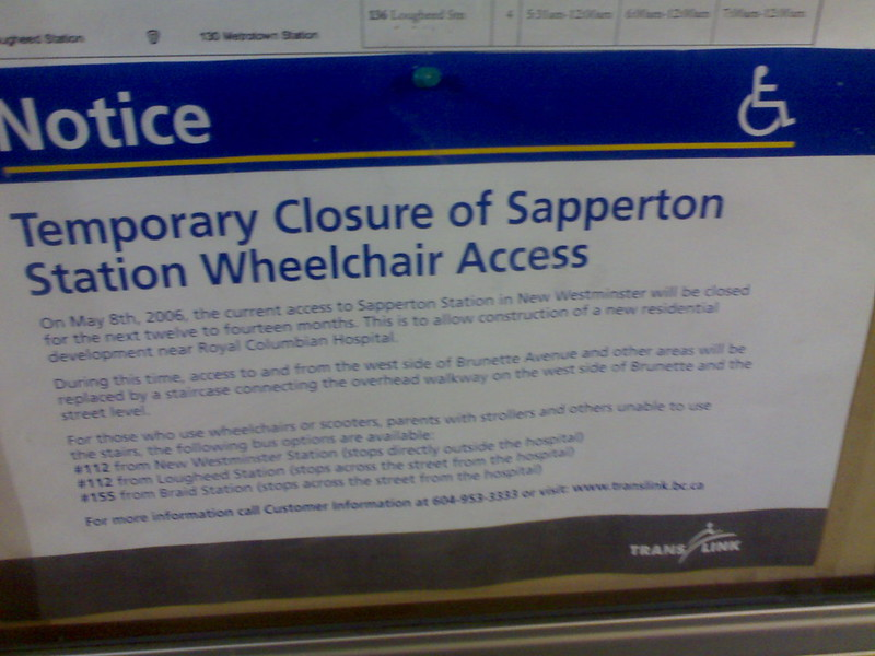 Temporary Closure of Sapperton Wheelchair Access