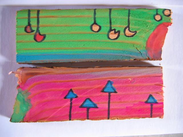 Painted Wood Blocks Mail Art For Kathleen Sharpie Gouac Flickr