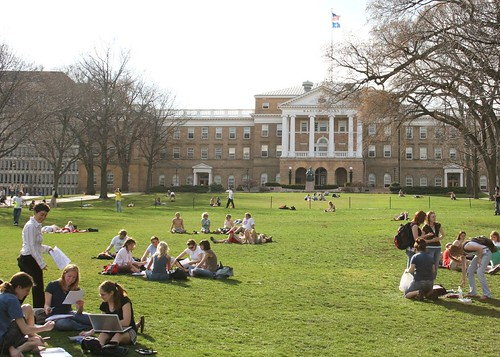 "Students in ""class"" on Bascom Hill"