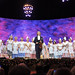 Andre Rieu & the girls from the orchestra dressed in traditional Dutch costume