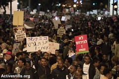Protest against deportation, south Tel Aviv, Israel, 24.2.2018