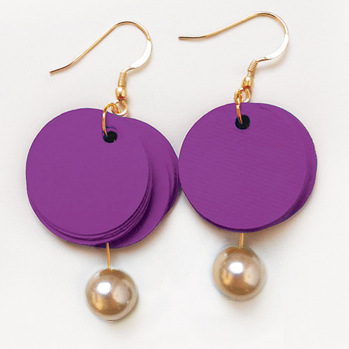 Purple Paper and Pearl Earrings by Alfieri Jewel Design