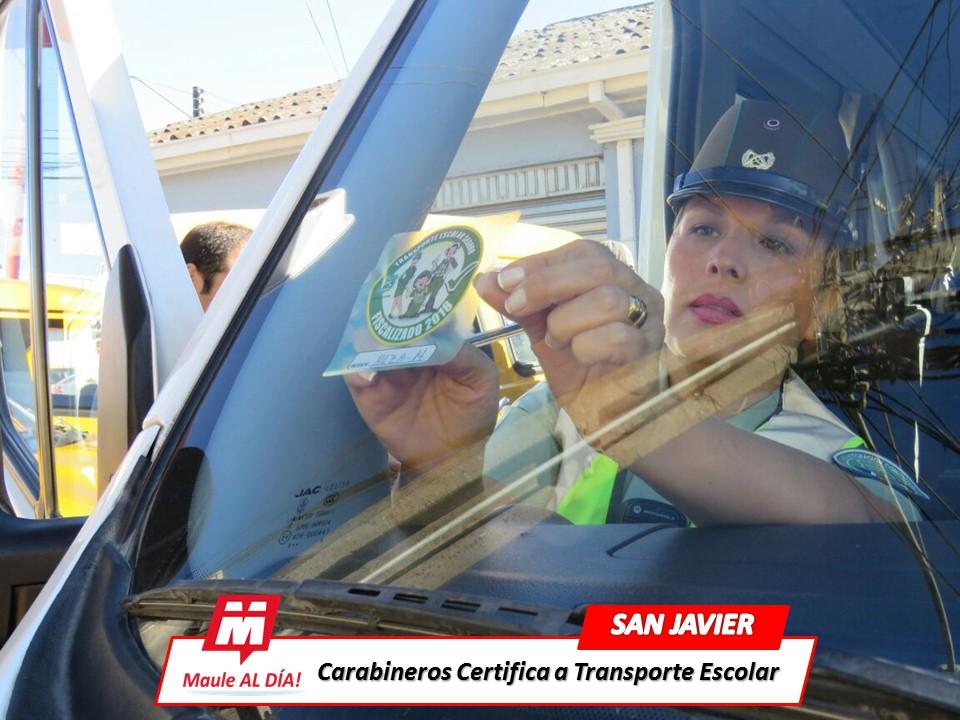 SAN JAVIER; Carabineros Efectuaron Certificación a Transporte Escolar de la comuna