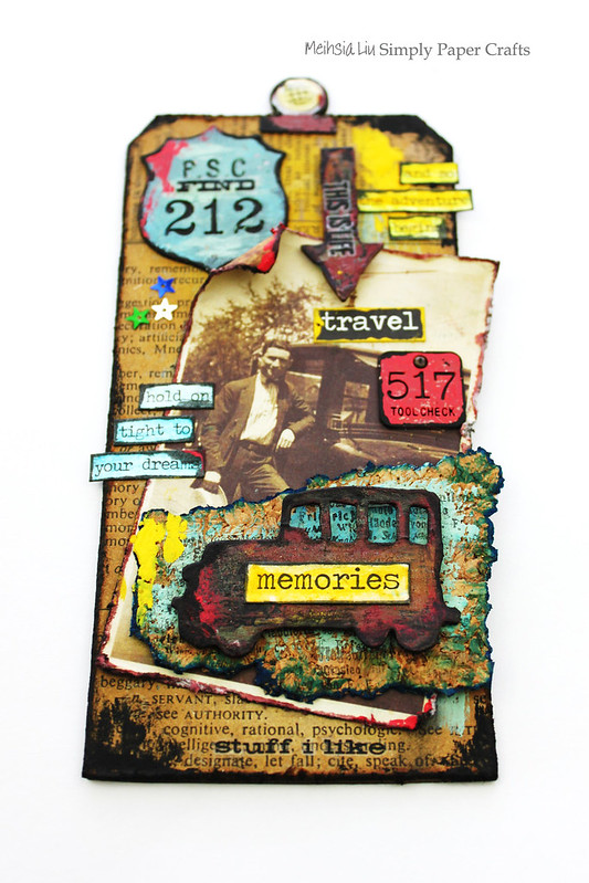 Meihsia Liu Simply Paper Crafts Mixed Media Tag Road Trip Travel Simon Says Stamp Tim Holtz