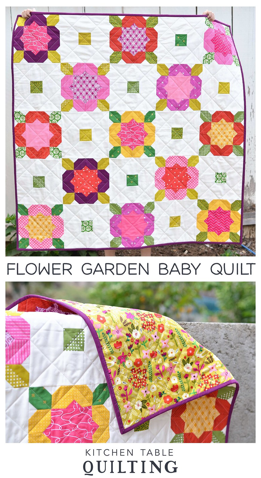 Mini Flower Garden Baby Quilt - Kitchen Table Quilting