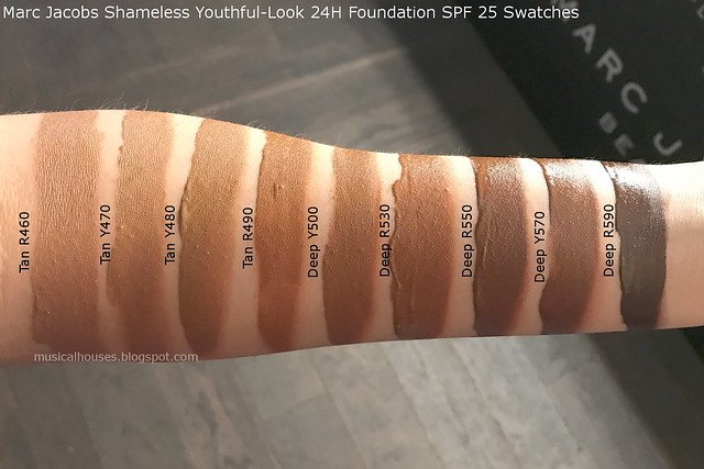 Marc Jacobs Beauty Shameless Foundation Swatches Youthful-Look 24H SPF 25