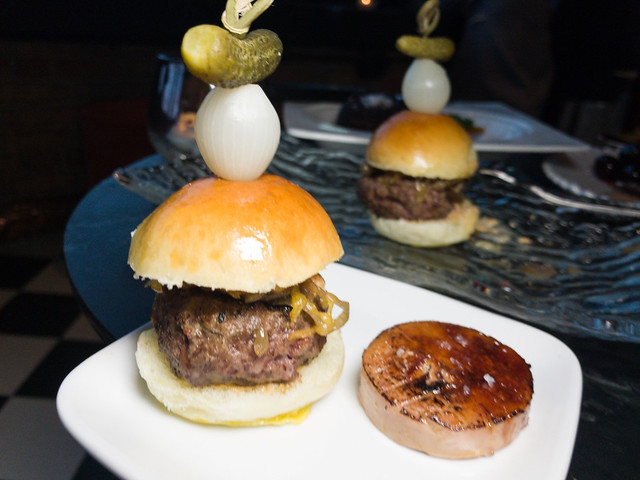 Beef slider with a side of foie gras