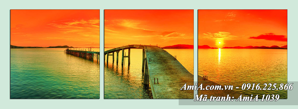 AmiA 1039 - Tranh quê hương em với cây cầu dài