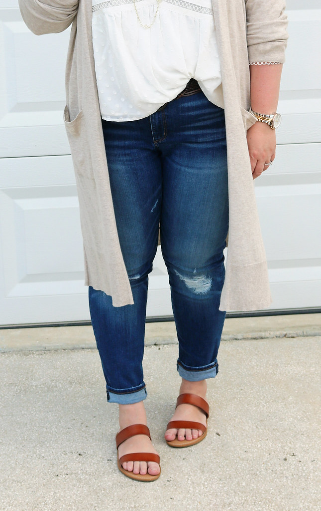 white peasant top, long tan cardigan, distressed jeans, double strap sandals 2