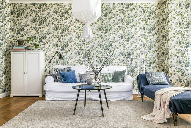 06 papel pintado de flores grandes Eglantine de Sanderson Decoración Ikea
