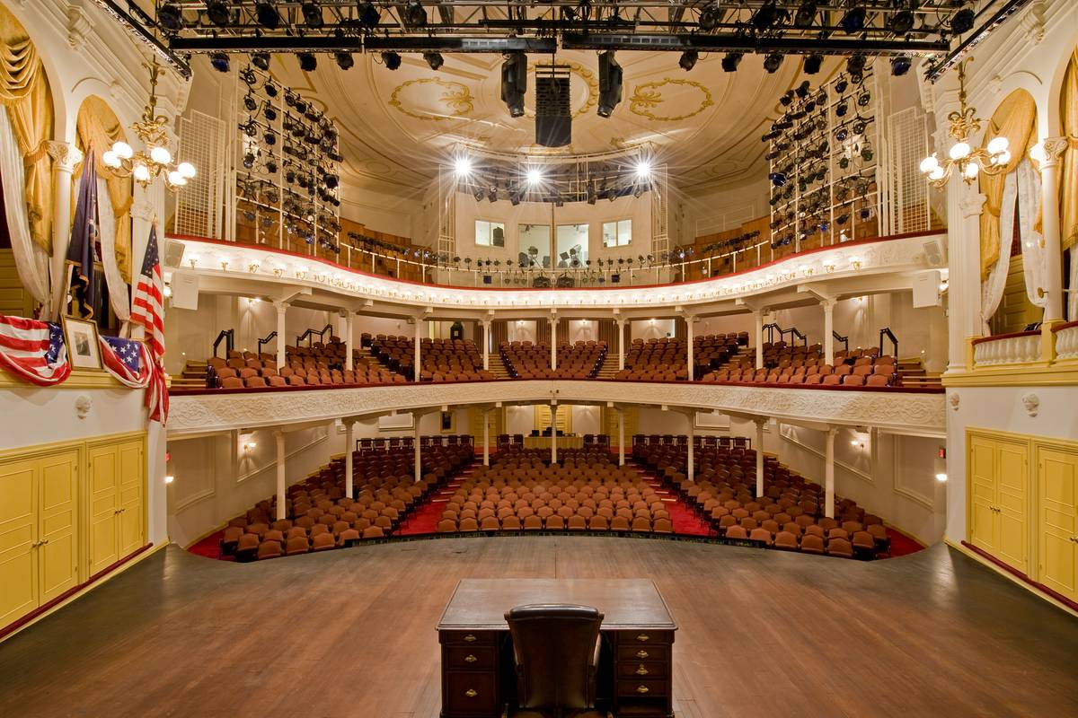 View of Ford's Theatre interior from the stage. Lincoln's box is to the left.