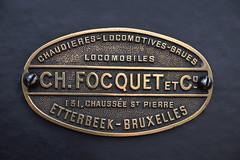 Plaque constructeur de la locomotive à vapeur Yvonne de 1893 ( Belgium 🇧🇪 )