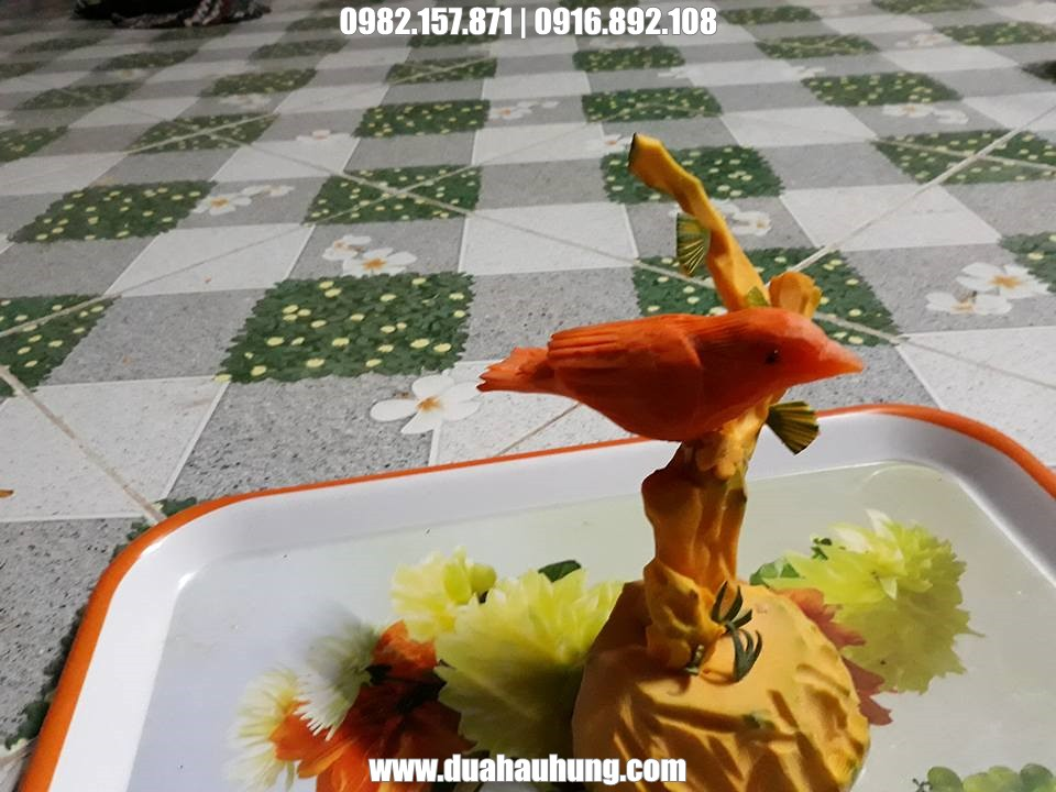 Tạo hình chim từ cà rốt và bí ngô