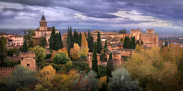 Ancient Moorish Fortress Alhambra in the Evening, Granada, Spain
