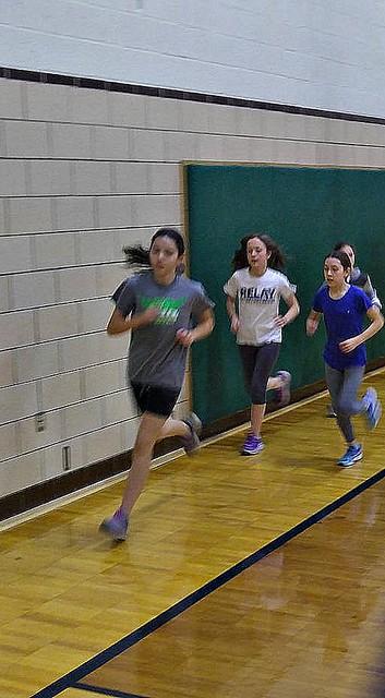 Rosie running track practice