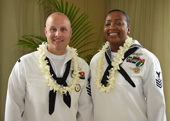 Culinary Specialist 1st Class Latoya S. Farrish, right, and Construction Mechanic 1st Class Cole K. Tankersley pause for a photo after being selected as the PACFLT Sailors of the Year. (U.S Navy/MC1 Phillip Pavlovich)