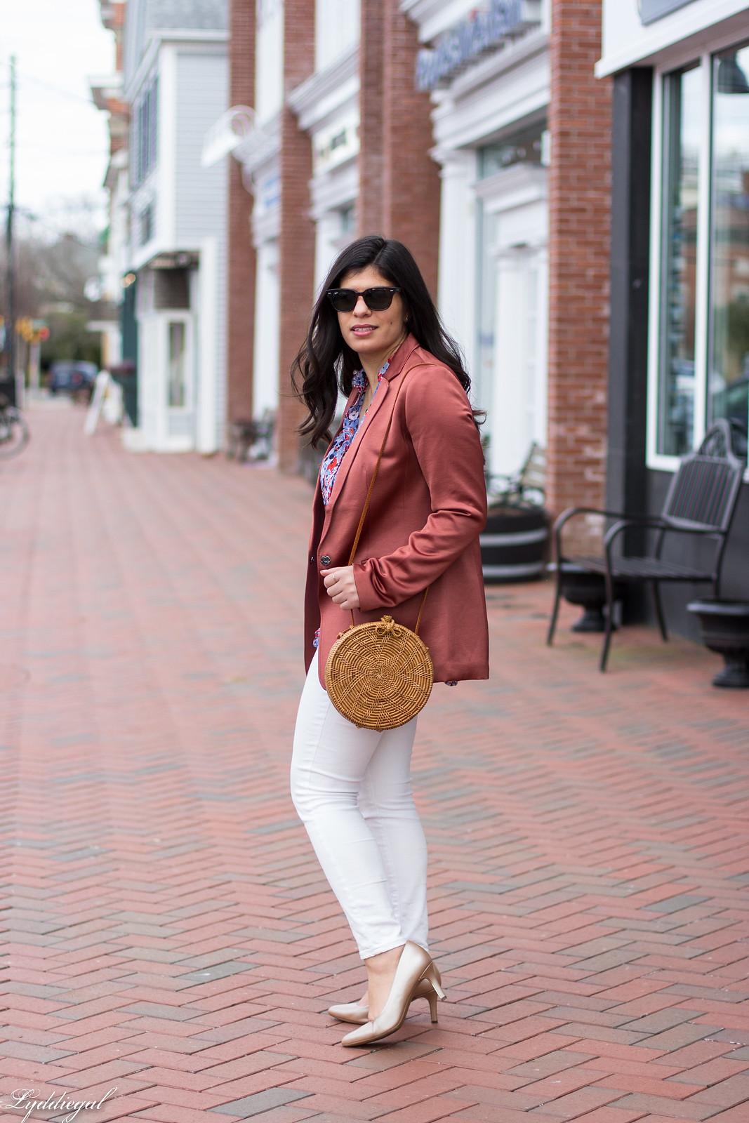 Rust Silk Blazer, Floral Blouse, White Jeans, Round Straw Bag-17.jpg