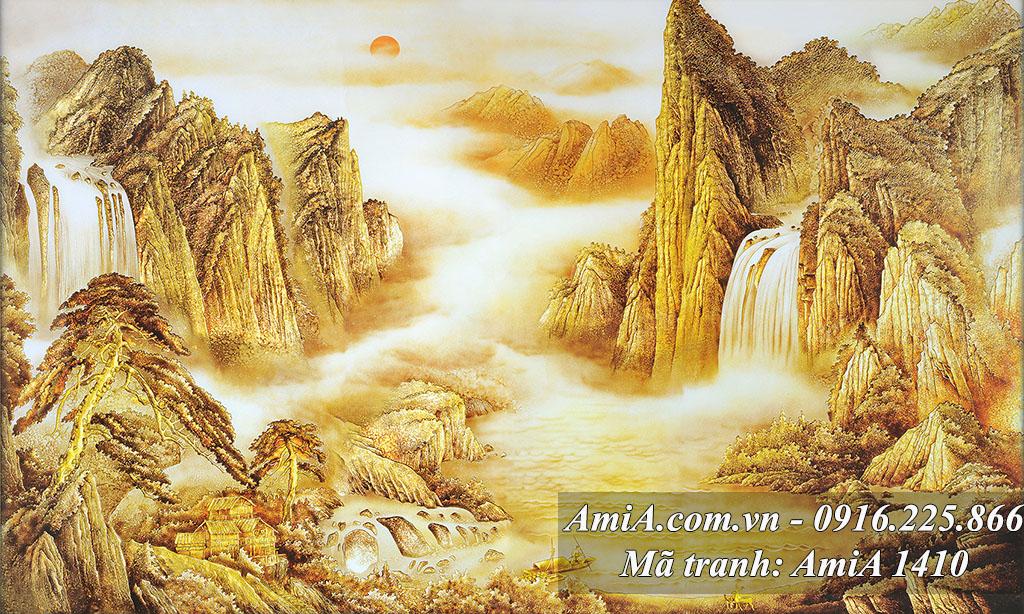 Tranh sông núi thiên nhiên thác nước phong thủy trung Quốc
