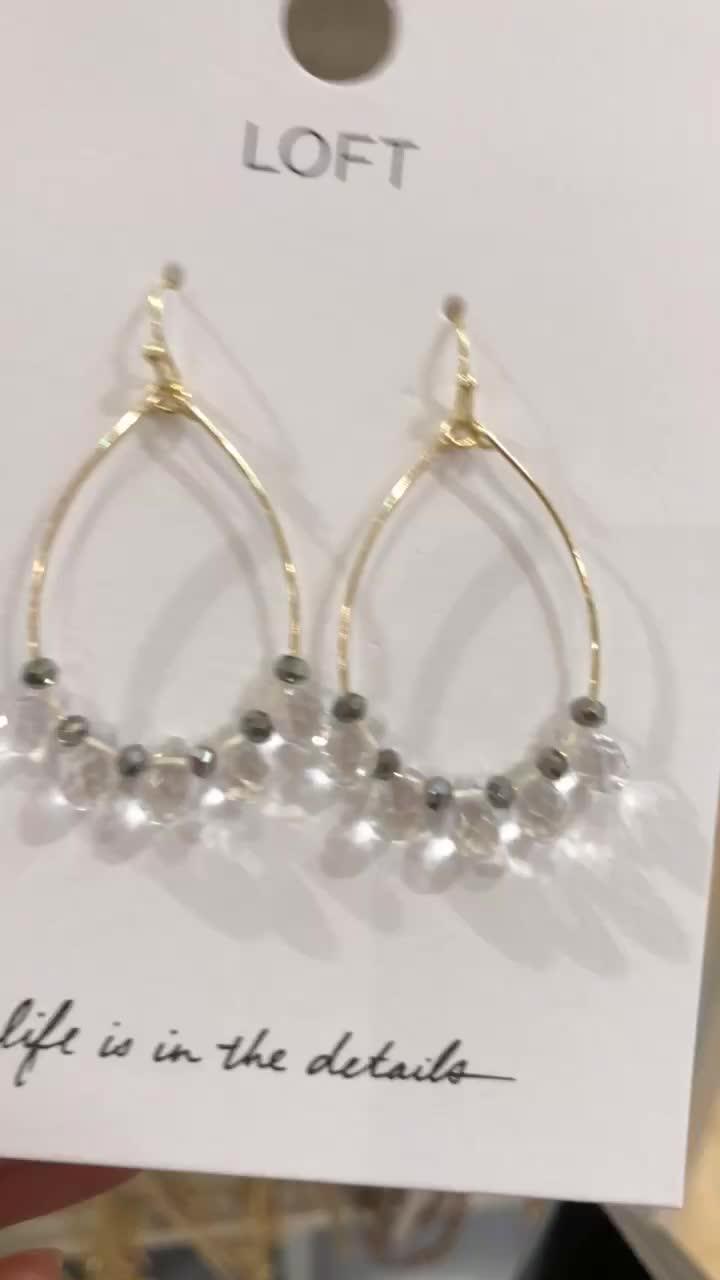 LOFT Stone Dangle Loop Earrings