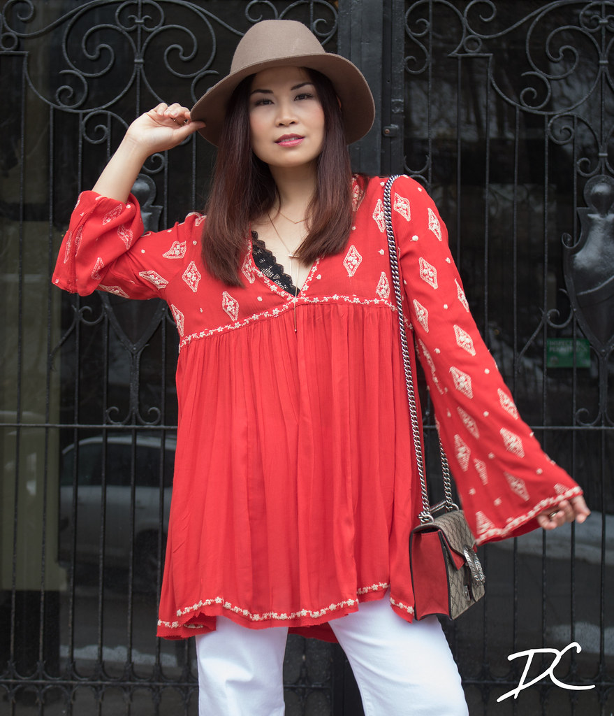 red-boho-top-free-people-hat-white-jeans-gucci-bag-1