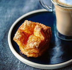 #Kouignamann - one of my favourite #pastries :heart_eyes: All the layers of sticky, buttery deliciousness . This one has apricot jam inside, from @balthazarbakerylondon Goes perfectly with my #homemade #flatwhite . . #breakfastlover  #igfood #foodgram  #b