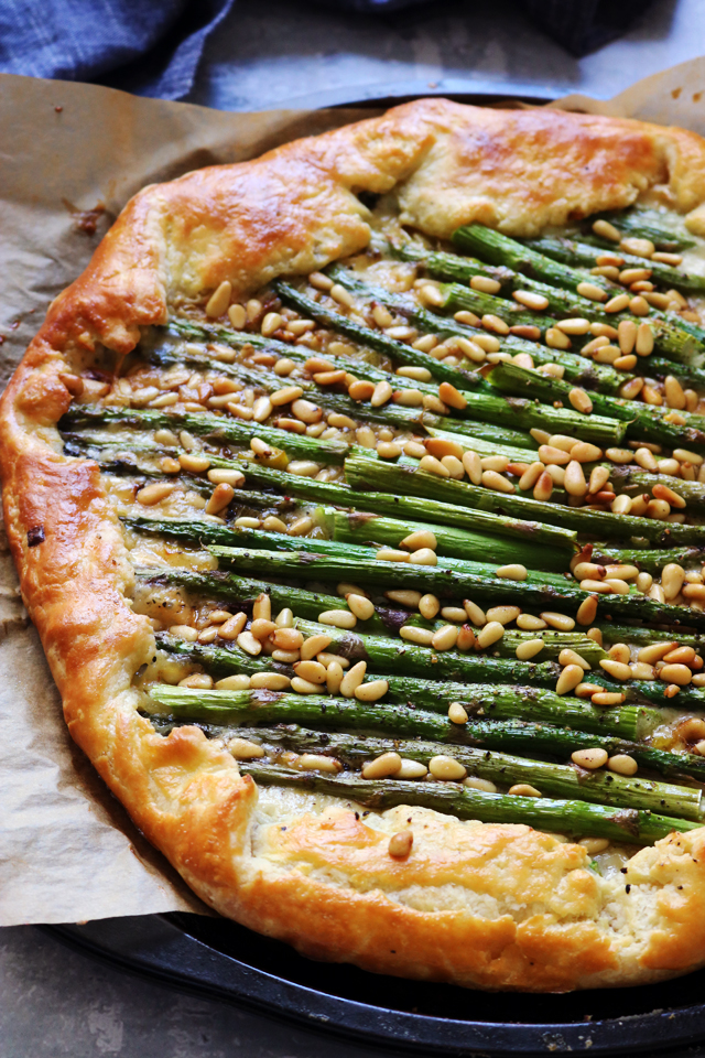 Asparagus, Gruyere, and Pine Nut Galette