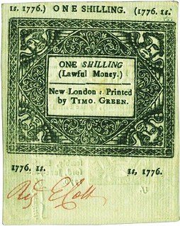 Connecticut one shilling note 1776-6-7 back