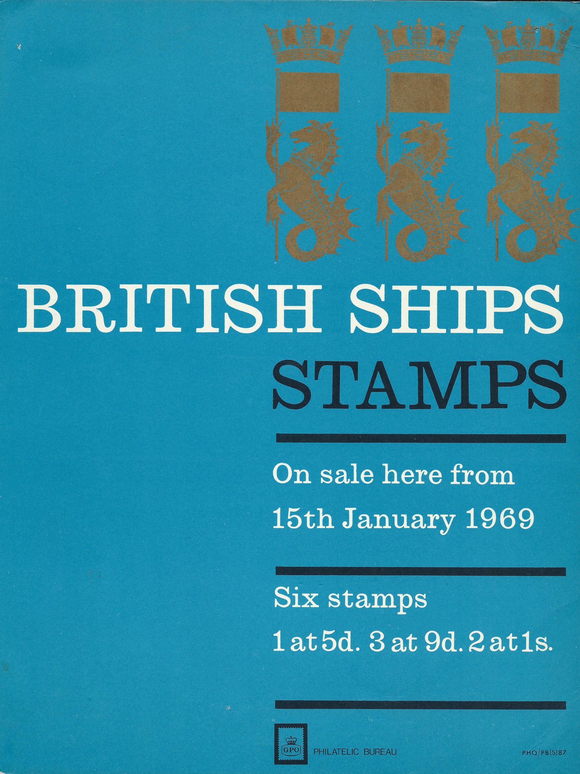 British Ships stamp set poster, 1968