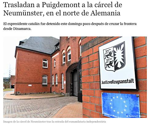 18c25 Puigdemont en una cárcela alemana