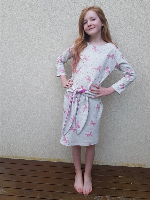 Oliver + S Girl on the Go dress in sweatshirting from Crafty Mamas Fabrics
