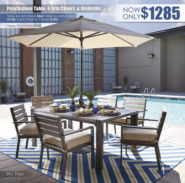 Peachstone Outdoor Dining Package P655-625-601A(6)-UMB