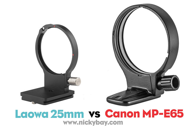 Laowa 25mm 2.5-5x Tripod Collar comparison with Canon MPE65